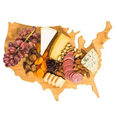 USA Map Cheese and Serving Board- Patriotic Theme- Bamboo Extra Thick Decorative Cutting Board