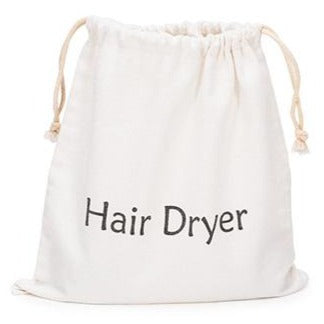 Professional Grade Cotton Drawstring Hair Dryer Bag - White