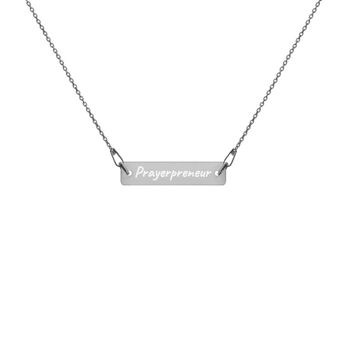Prayerpreneur Engraved Bar Chain Necklace