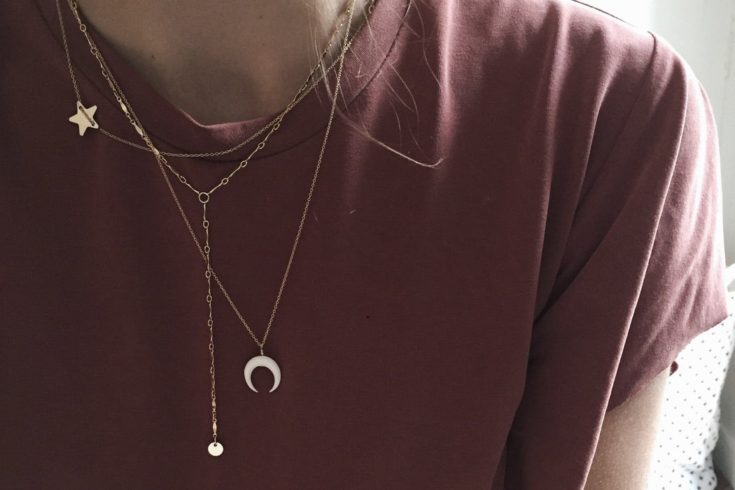 Collier WHITE MOON - plaqué or ou argent