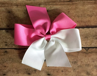 Bow-Two-Tone Split  w/ponytail