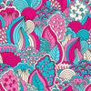 Hand Drawn Bold Pink & Blue Floral - HTV, Glitter HTV or Glossy Adhesive Vinyl - $2.95-$9.50