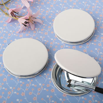 White Leatherette Compact Mirror
