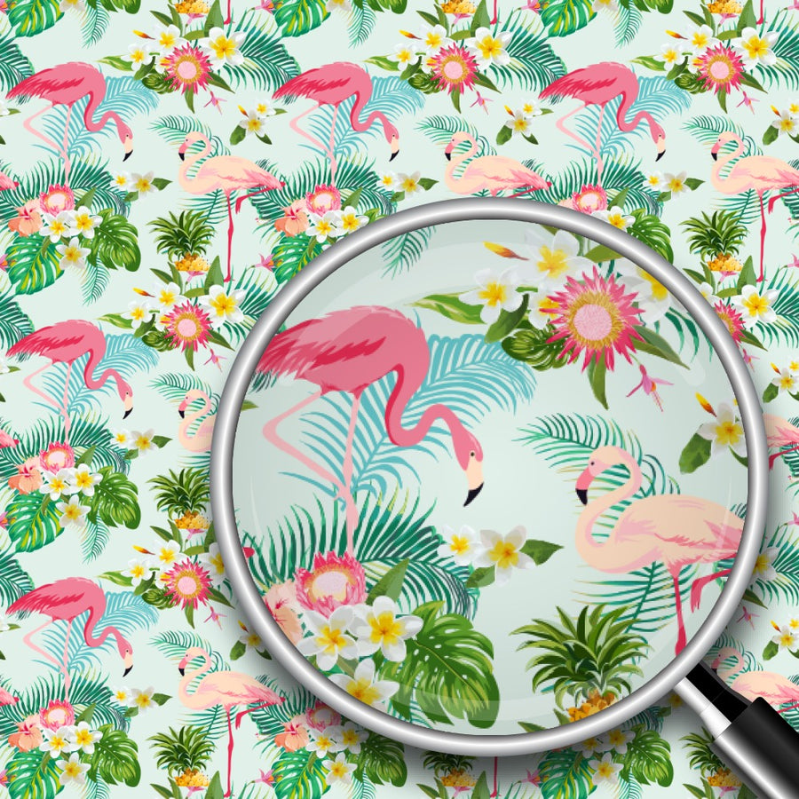 Tropical Flamingos Print