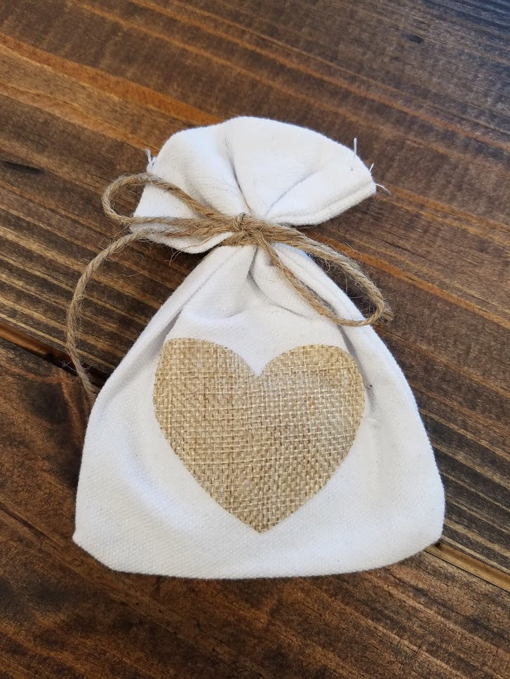 Rustic Shabby Chic White Cotton Favor Bag