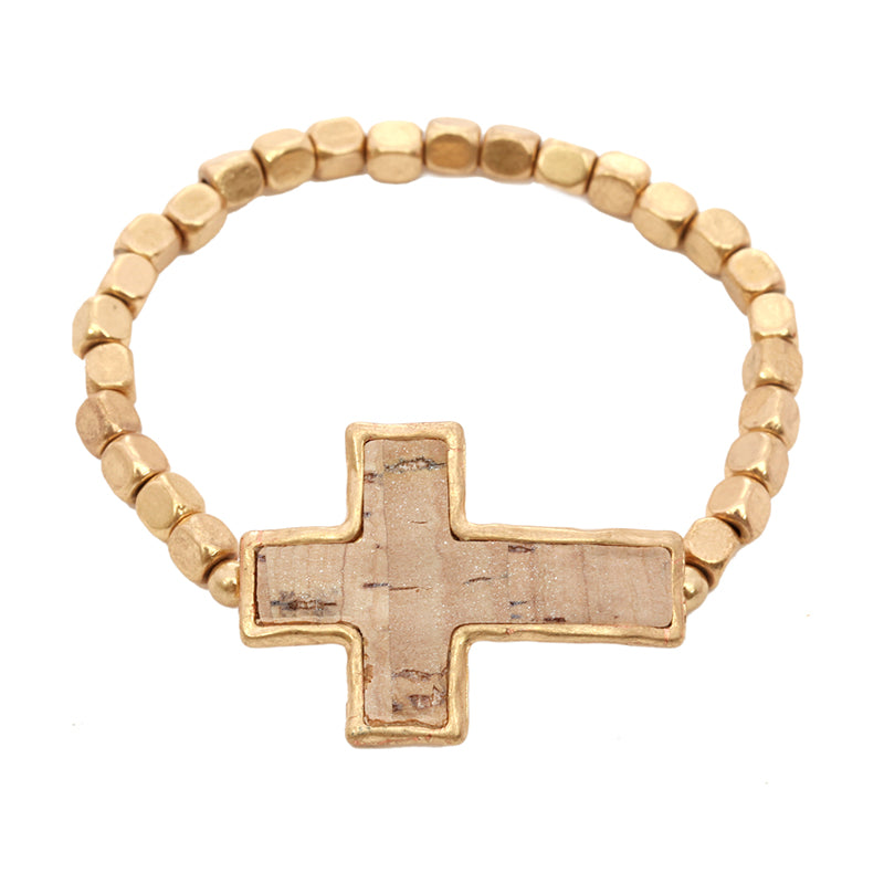 Stretch Beaded Bracelet with Cork Cross