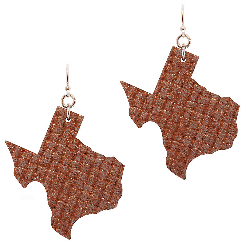 Leatherette Texas Earrings-Textured