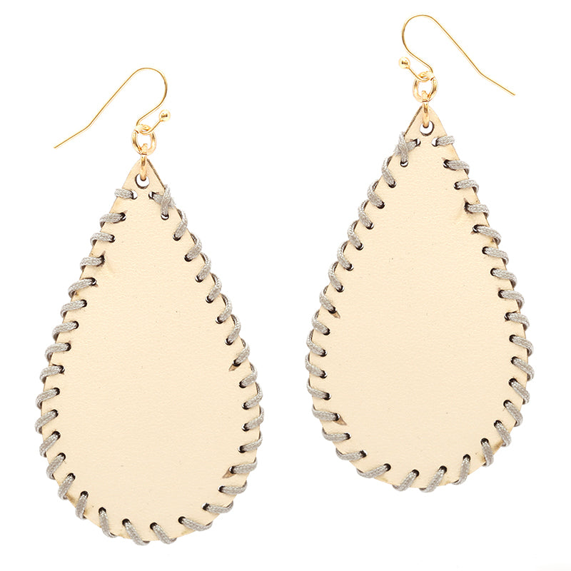Leatherette Teardrop Earrings with Stitching