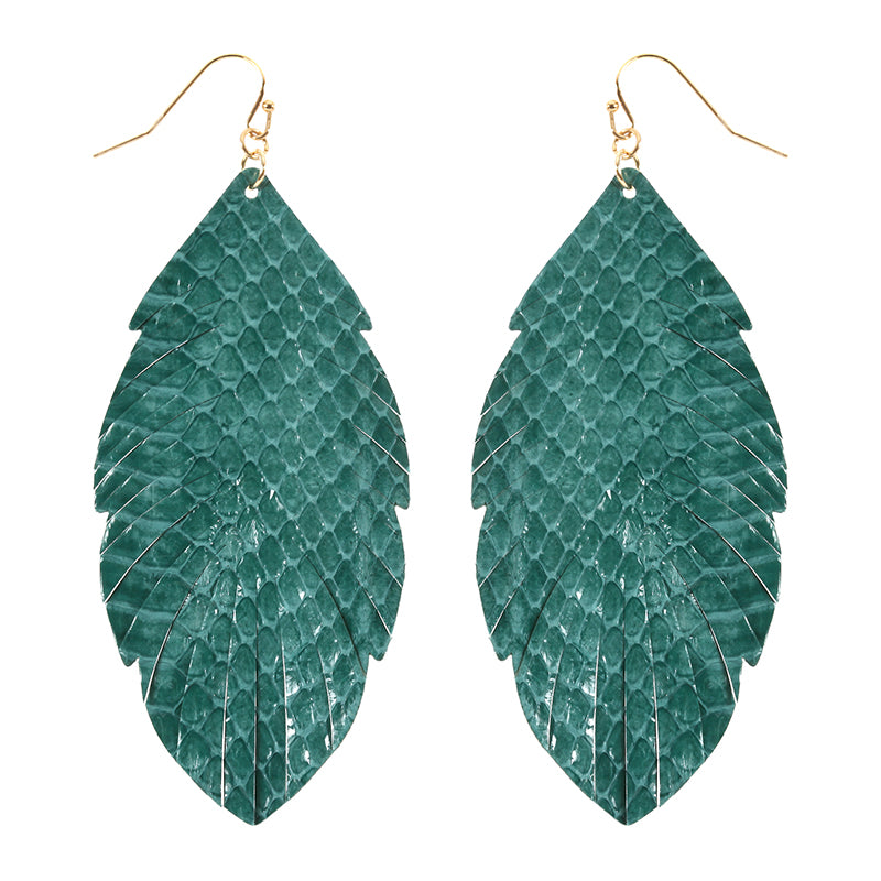 Leatherette Snakeskin Leaf Earrings