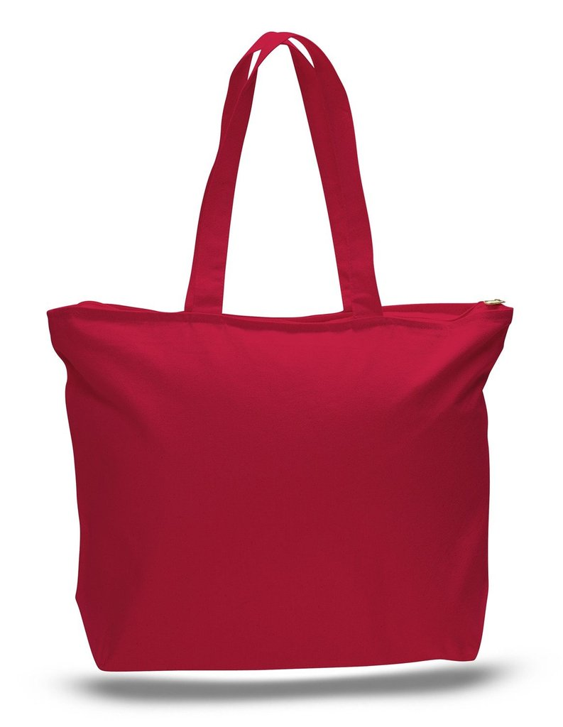 Heavy Canvas Zipper Tote Bag with Inside Zippered Pocket