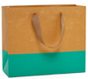 Kraft Two-Toned Euro Tote with Ribbon Handles