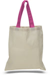 Blank Cotton Tote Bag-Colored Handles