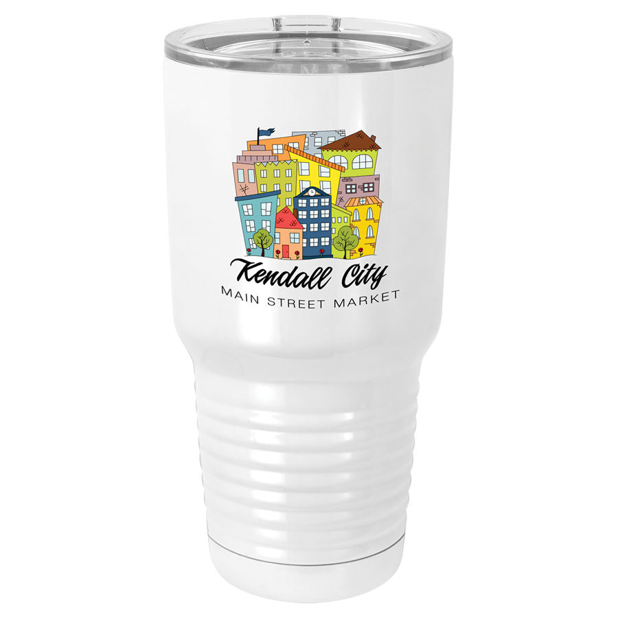 Sublimatable Polar Camel 30 oz. White Vacuum Insulated Tumbler w/Lid