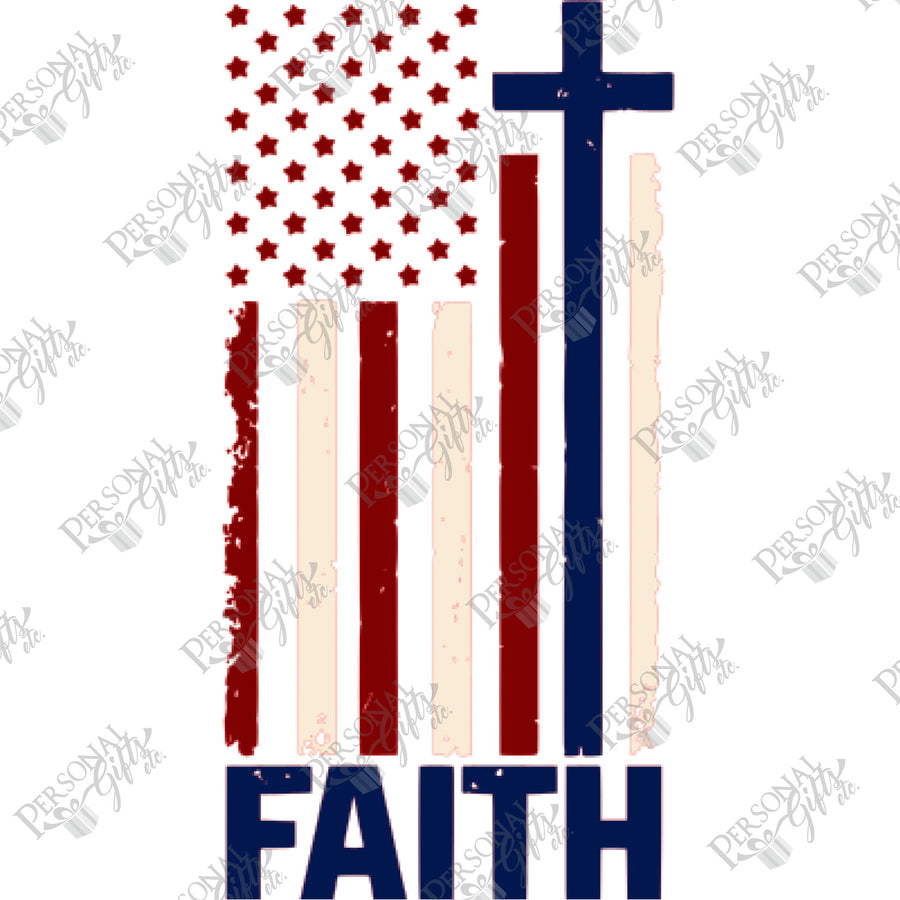 HTV- Faith Cross American Flag