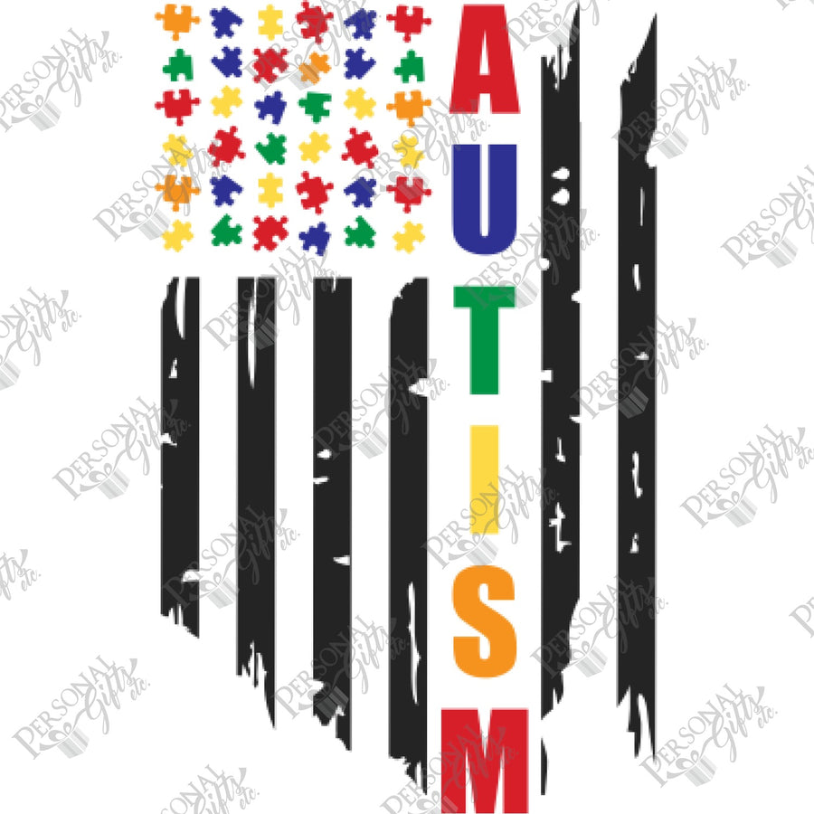 HTV- Autism American Flag