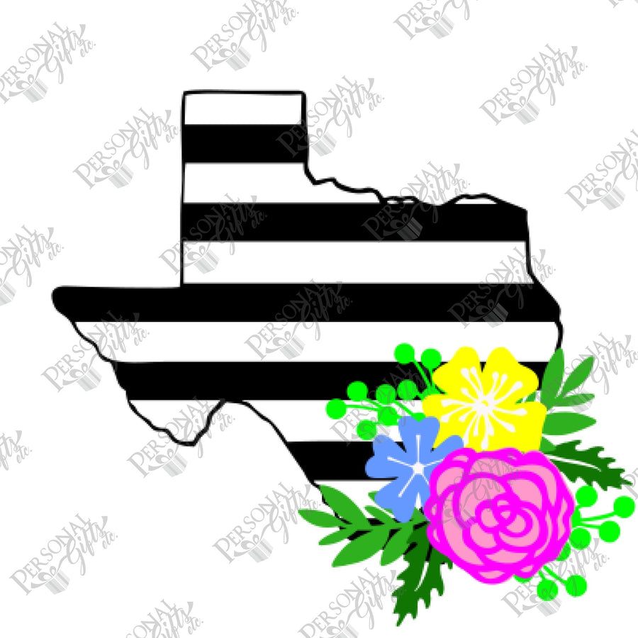 HTV- Floral Striped Texas