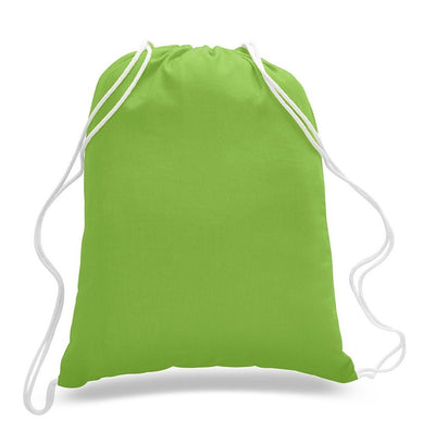 Blank drawstring bag in neon green - lime. Cinch bag.