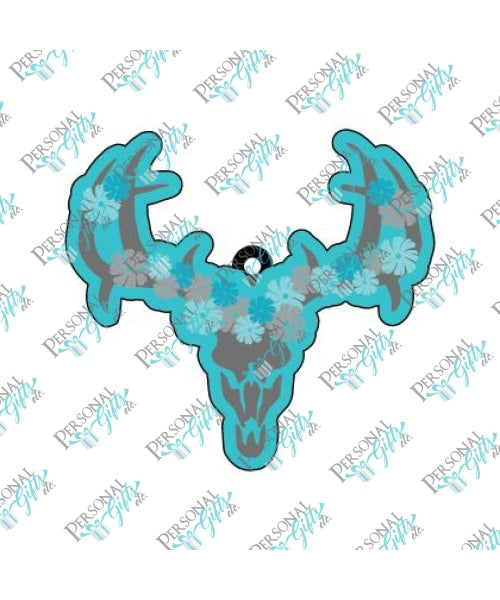 Deer Skull With Flowers Keychain Blanks