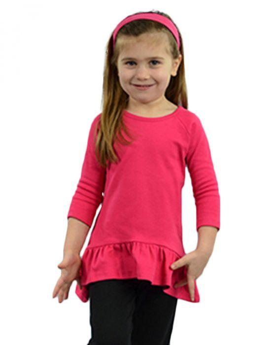 Girl's 3/4 Sleeve Raglan Ruffle Top