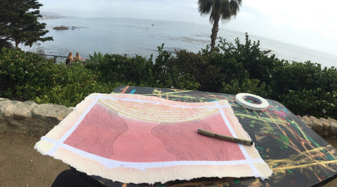 Salina Mendoza (abstract geometric artist) SAM at Laguna Beach Cliffs doing line art