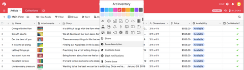 Art Inventory Airtable Template by Salina Mendoza (SAM)