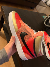 Custom Red/Gold/Salmon Nike Court Vision Mid