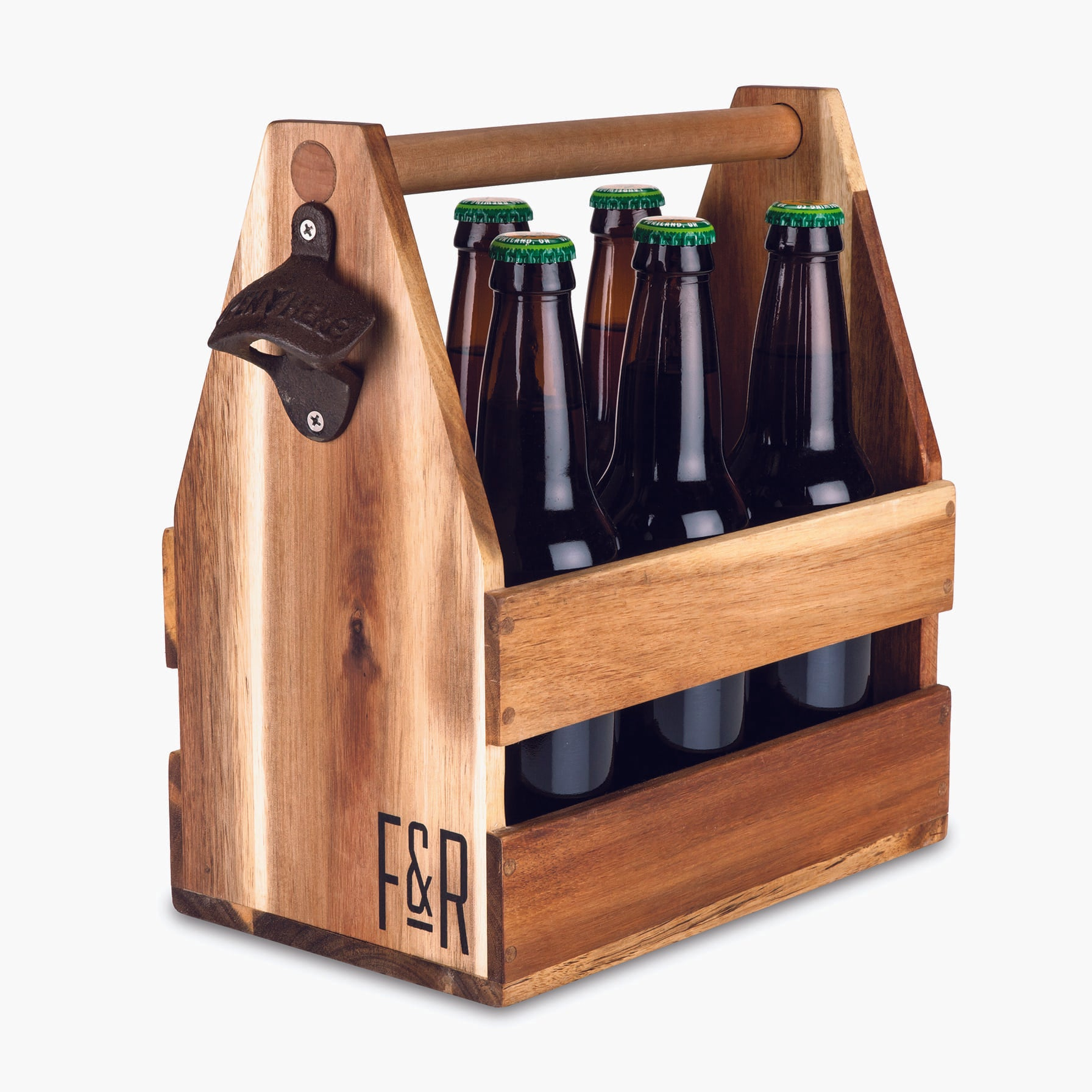 Acacia Wood Beer Caddy