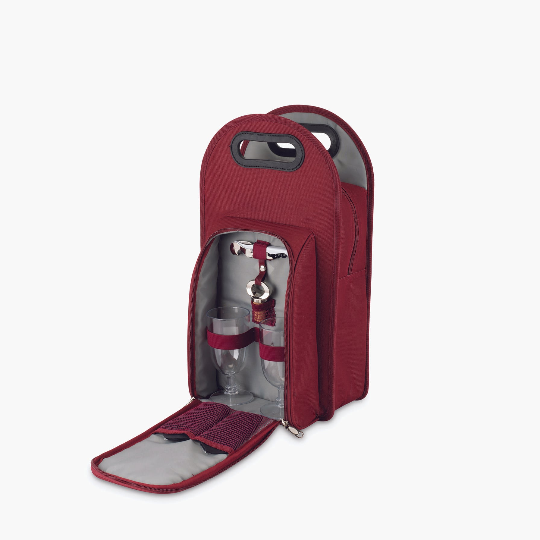 2-Bottle Wine Tote in Burgundy & Grey