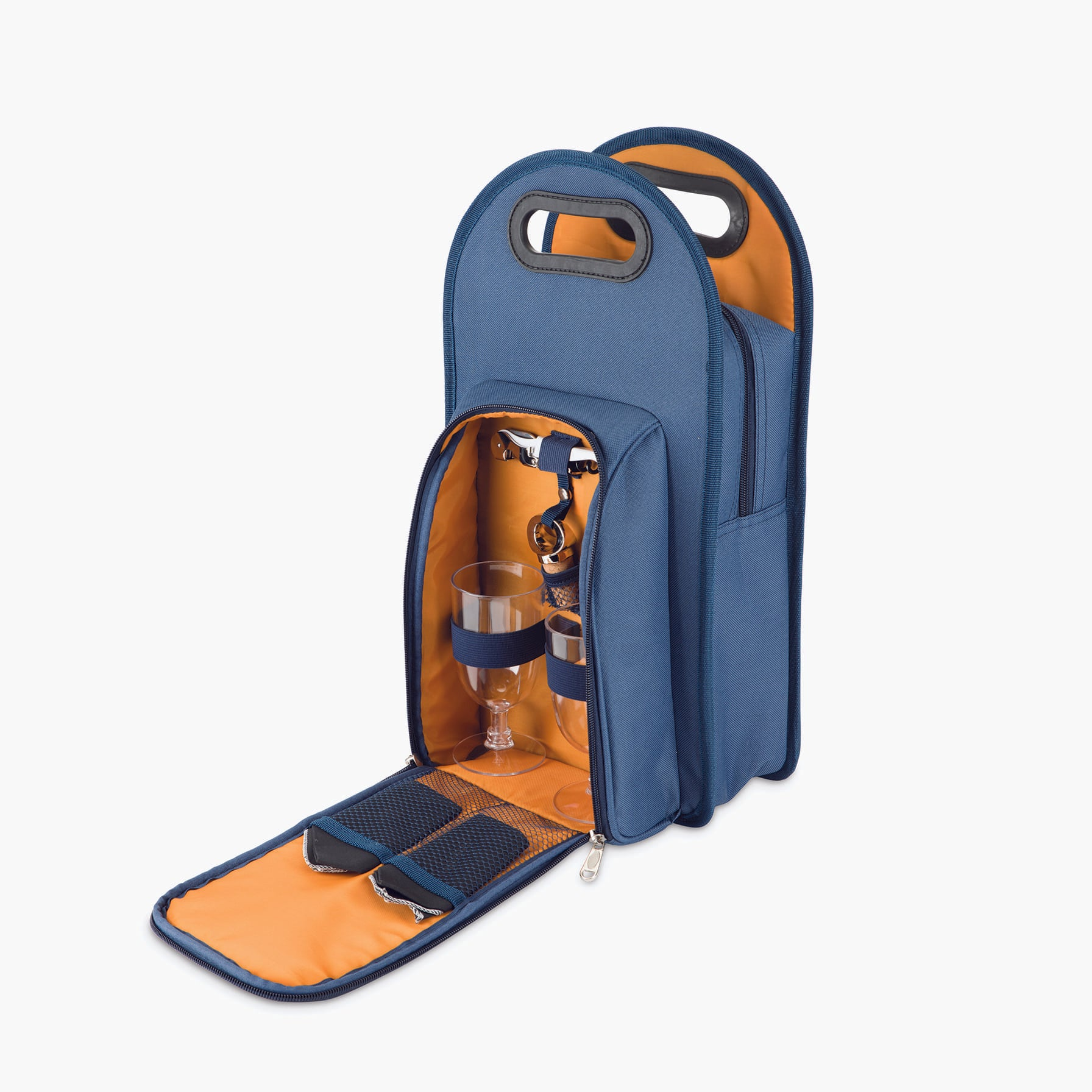 2-Bottle Wine Tote in Navy & Orange
