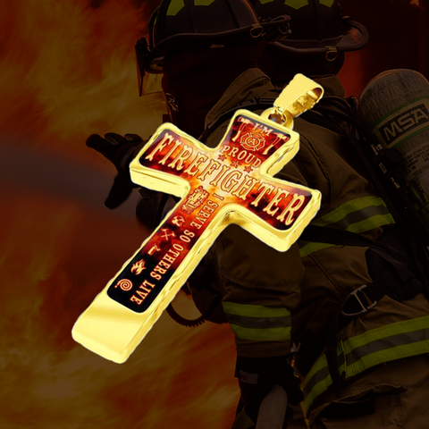 Proud Firefighter Cross Necklace