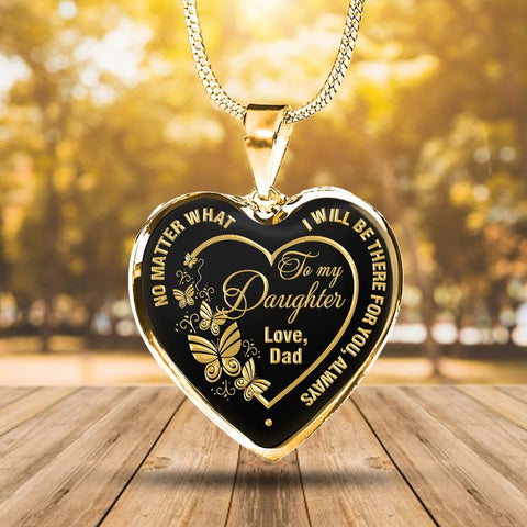 Father to Daughter Heart with Butterflies Necklace