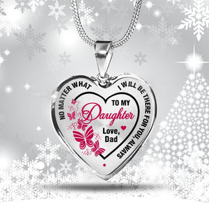 Father to Daughter Heart Pink Necklace