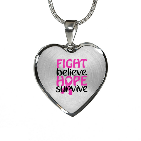 Fight Believe Hope Survive Cancer Necklace or Bangle