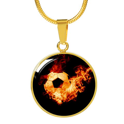 Soccer Ball On Fire Necklace