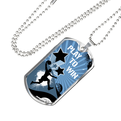 Basketball Play To Win Dog Tag