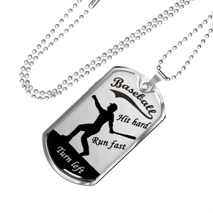 Baseball Hit Hard Dog Tag