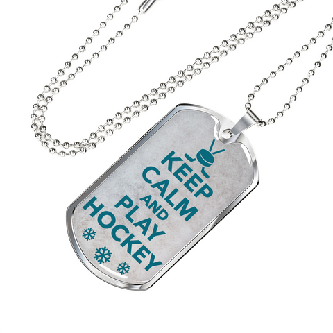 Keep Calm And Play Hockey Dog Tag