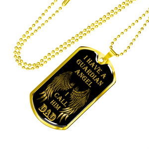 Family Guardian Angel Dad Dog Tag