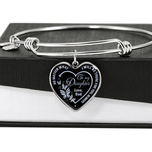 Father to Daughter Bangle Heart with Butterflies