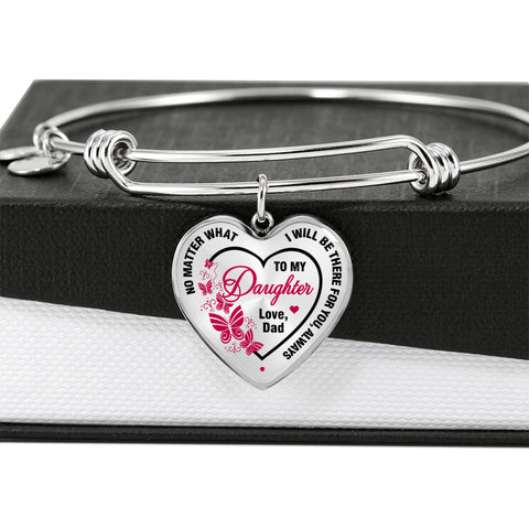 Father to Daughter Bangle Heart Pink