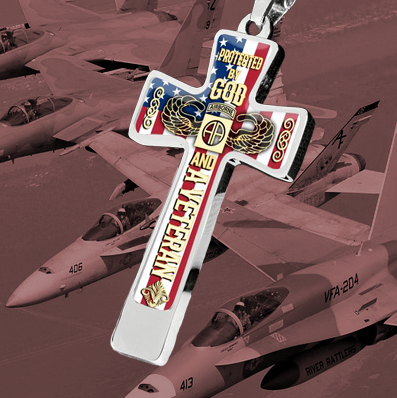 Protected By God and A Veteran Airborne Cross Necklace