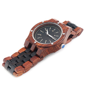 Beta - Dark Zebra Wood and Ebony chain with black dial