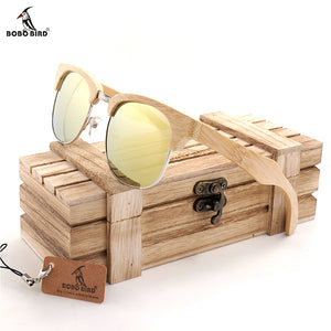 BOBO BIRD BG016f Unisex Polarized Sunglasses Semi Enclosure Design Handmade Bmaboo Glasses oculos de sol masculino With Box OEM