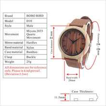 Moga - Bamboo Wood Watch with Red Fabric Strap