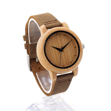 Moga - Classic Bamboo Wood Watch with Leather Strap