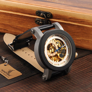 Skeleton - Ebony Wood and Stainless Steel Casing with Gold Exposed Mechanism