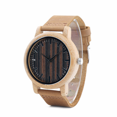 Aurea - Stylish and Simple Bamboo Watch with Dark Striped Face