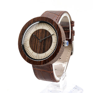 Odorata - Zebra Wood natural wood face with Brown Leather Strap