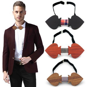 European Trendy Style Men Woman Retro Handmade Wood Bow tie Fashion Personality Accessory Geometric Design Wooden Bow Ties Neck
