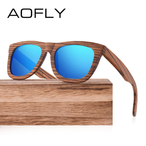 AOFLY Walnut Wood Polarized Sunglasses Women Men Handmade Driving Sun Glasses Goggle Retro Vintage Wooden Frame Oculos AF606